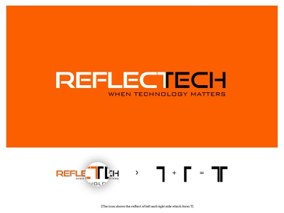 REFLECTECH minimal clean branding lettering illustration vector typography identity design logo
