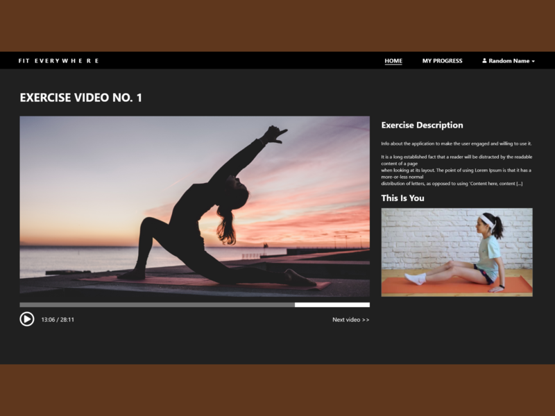 Fitness App Video/ Exercise Page website webpage app ux adobe xd ui design camera watchpage exercise video fitnesspage fitnessapp fitness