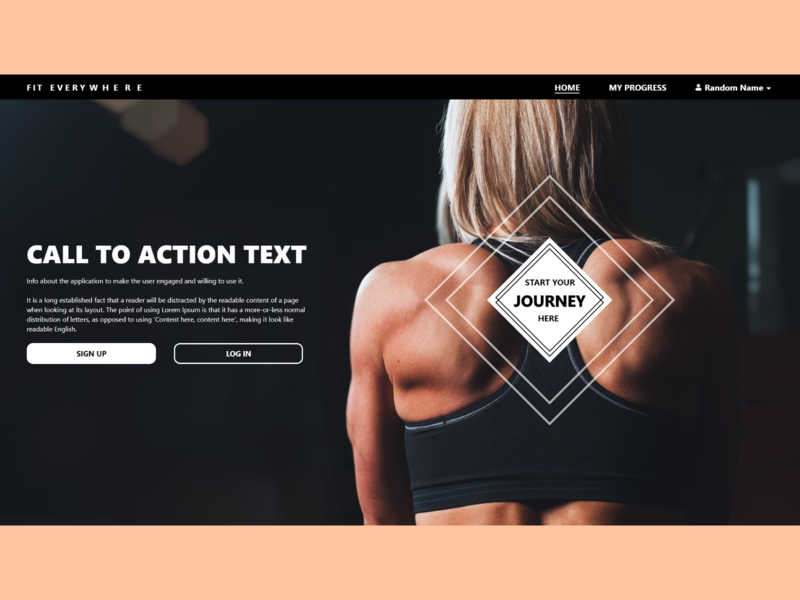 Fitness App Landing Page ( after start button interaction) webpage app ux ui adobe xd design landing calltoaction homepage button landing page design fitnesssite fitnessapp fitness landingpage
