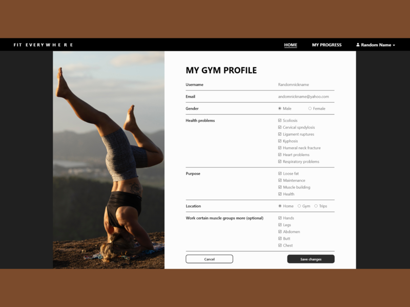 Fitness App Profile Page webpage website ux ui adobe xd design save fitness tracker buttons checkboxes form profile gym fitness fitnessapp