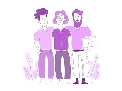 Illustration - together happy work diversity meeting office laptop co-worker collaboration people illustration together