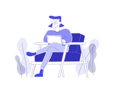 Illustration - person couch laptop conceptart concept focus work wellbeing rest couch laptop worker person office illustration
