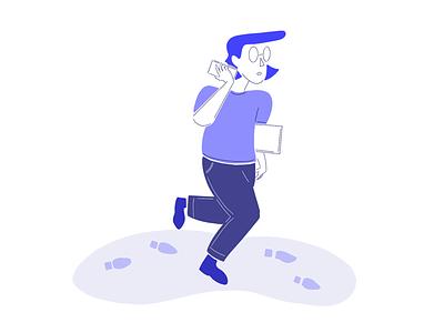 Illustration - person walking sketch concept busy person walk office work persona design artwork illustration