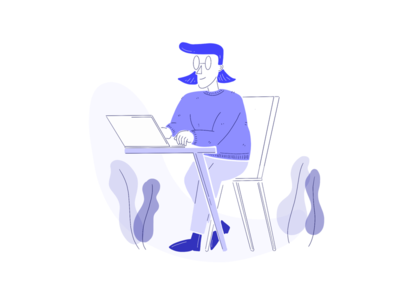 Illustration - person working laptop