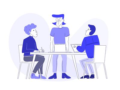 Illustration - people meeting discussion artwork persona sketch concept ux ui design office work collaboration discussion meeting laptop person people illustration