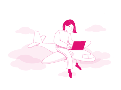 Illustration - person airplane laptop journey user persona ux ui artwork worker trip business trip travel office airplane laptop remote work person illustration
