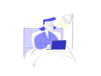Illustration - person bed laptop journey user design ui ux artwork room hotel bed work laptop persona person office home illustration