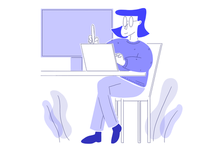 Illustration - person drawing laptop dribbble drawing ux ui desk person persona computer laptop laptop office work tablet designer design illustration