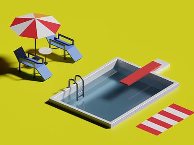Pool Side 3d art 3d blender3d blender render illustration design
