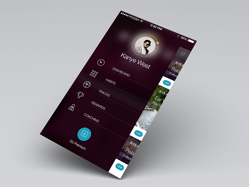 Side menu concept metro ui ux icon menu app ios7 settings account dashboard button progress