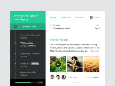 Travel timeline ui ux social travel diary record note concept photo timeline post widget
