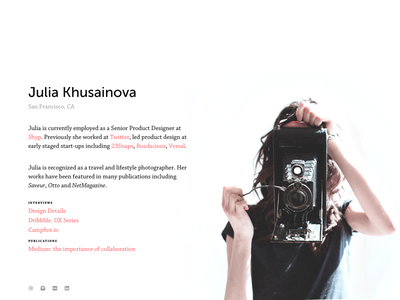 New Portfolio is Up! photography typography julia portfolio personal