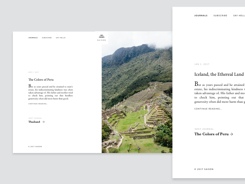New journal on Saison: Peru photography framer animation space minimal clean white brand magazine saison ux ui