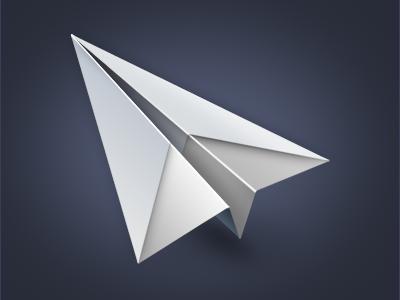 Sparrow icon effect glow osx mac plane icon design practice paper