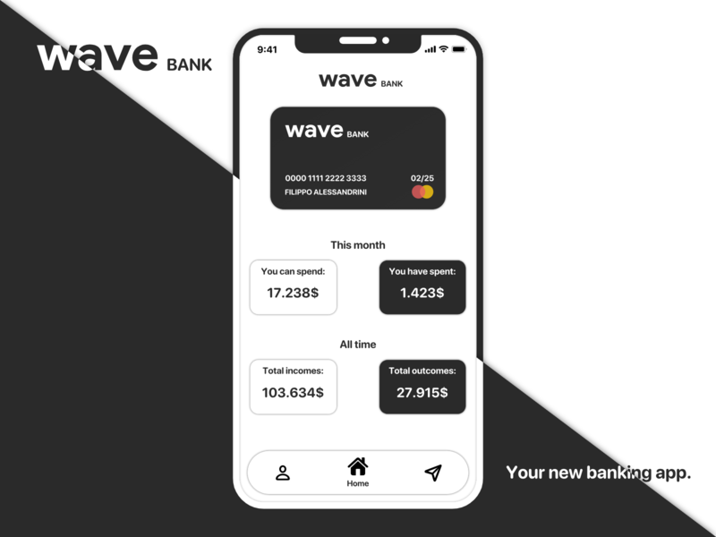 waveBANK - A new way to keep an eye on your savings card credit card creditcard credit banking app bankingapp banking bank minimalist minimal google black  white black art app modern material illustration flat design