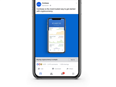 Facebook Ad for Coinbase typography branding design animation social ads advertising ads