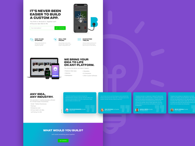 Landing Page for Builder by Engineer.ai landing page app web typography branding design