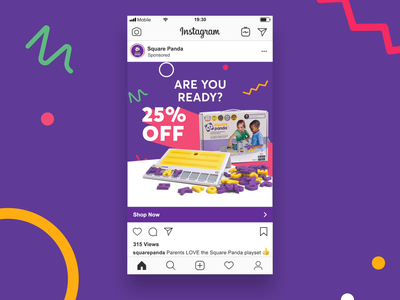 Social Ads for Square Panda aftereffects typography instagram stories instagram ads facebook ads social ads branding design animation advertising ads