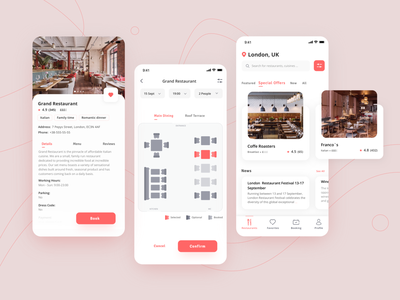 City Restaurant Guide App product design book a table booking app restaurant app ui design web ux app