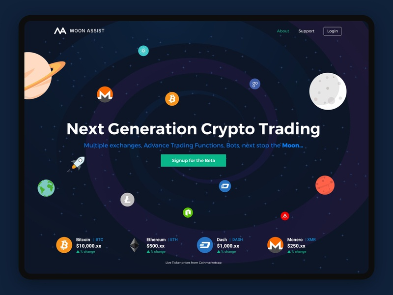 Moon Assist Landing Page bitcoin crypto trading crypto cta hero design landing page web  design