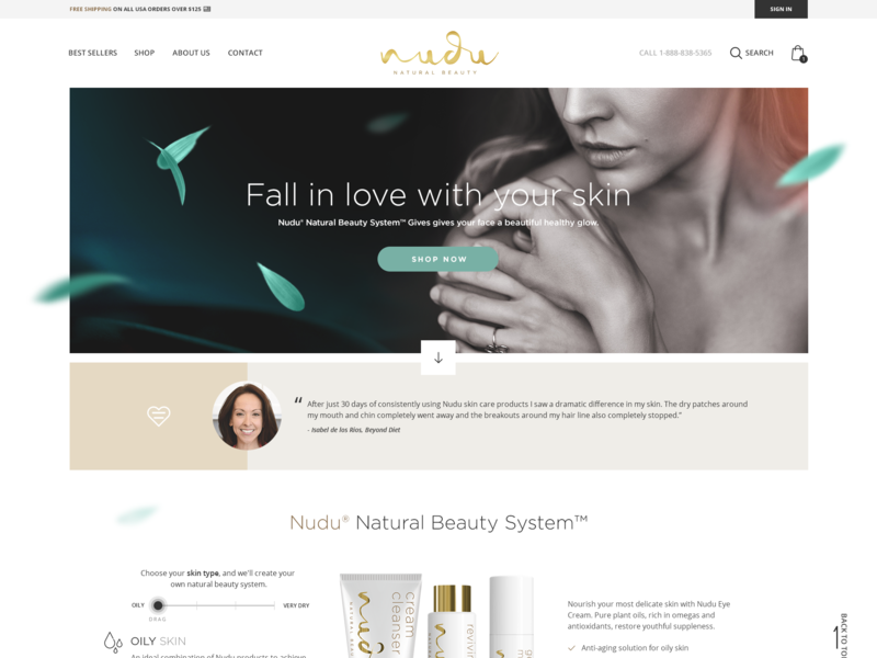 Nudu Skincare Conversion-Optimized Website Redesign desktop mobile landing page conversion rate optimization beauty skincare ecommerce shopify product page homepage
