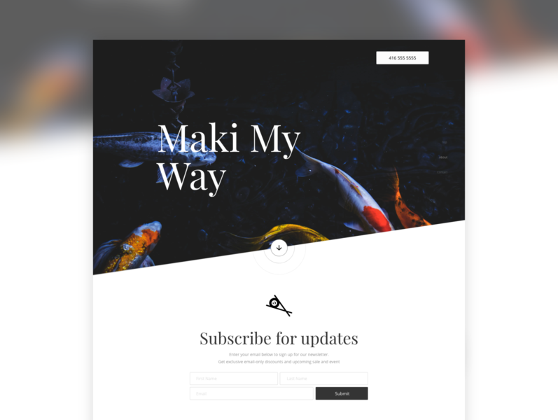 Customized Landing Page: Sushi - Subscribe