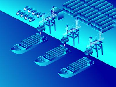 Isometric seaport illustration
