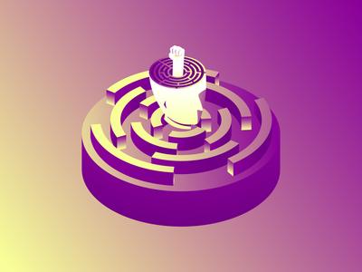 Man Maze isometrc illustration