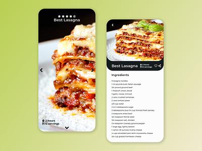DailyUI 040 - Recipe lasagna design food kitchen recipe app dailyui040 ux ui challenge dailyui