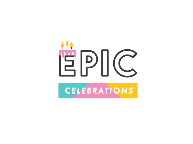 Epic Celebrations Logo Design lettering flat website typography minimal logo illustrator illustration design branding