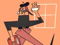 Beatnik Lady with Soup