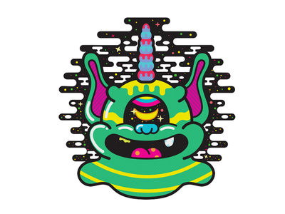 Space cyclops unicorn character design illustration art monster psychedelic characterdesign cyclops unicorn