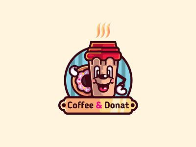 Coffee & Donat (ver.2) fastfood donat coffee emblem mark logo