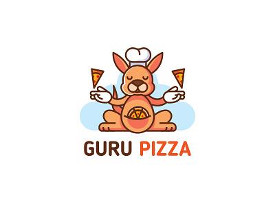 Guru Pizza fastfood pizza kangaroo emblem mark logo