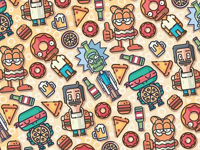 Cartoon Fooders pattern illustration