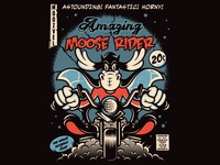 Moose Rider characterdesign print design vector art character illustration