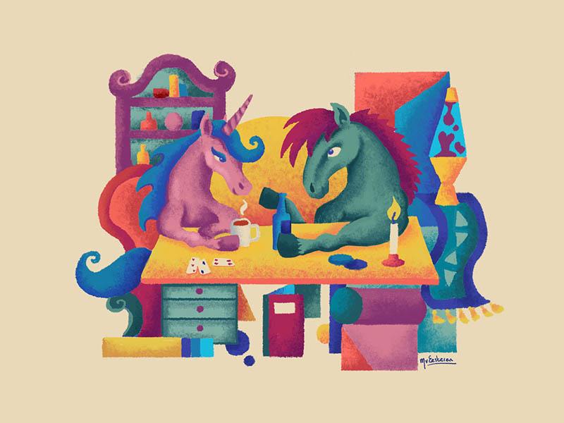 A romantic date love date horse illustration eesteren van manouk