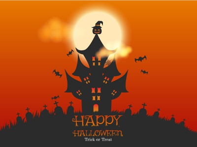 witcher pumpkin above the house witcher witch holiday grave pumpkin trickortreat halloween trick adobe illustrator cartoon design vector illustration