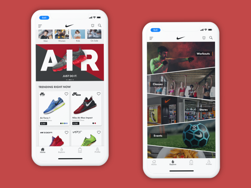 Nike App Concept shoes clean ui clean card sketch adobexd app shoe nike mobile interface mobile design interface designs mobile flat design user interface design design app design ux ui