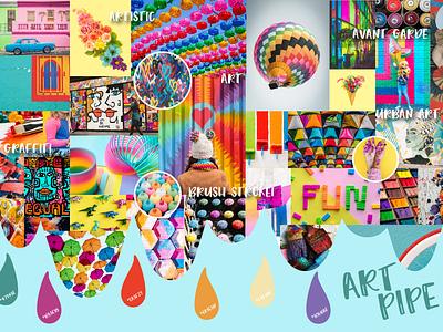 Mood Board Inspiration-Art Pipe fun art childhood colorful design color board color inspiration concept development concept design concept mood mood board
