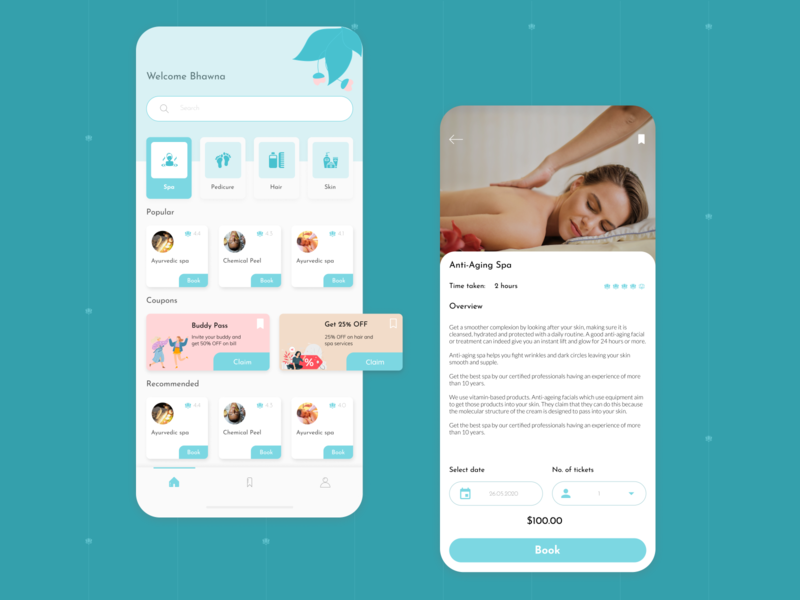 Spa and beauty app concept beauty app cool colors soothing minimalistic typogaphy ui design app design ios ios app design spa spa app
