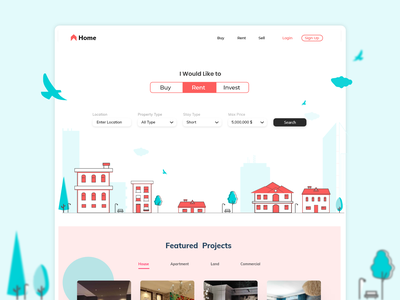 Real Estate Web platform web icon typography vector logo colourful invest rent buy realestate property ui illustration adobe xd design