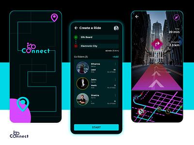 Ride App - Stay Connected dark app travel bike map ride dark ui dark ui logo adobe xd mobile app design