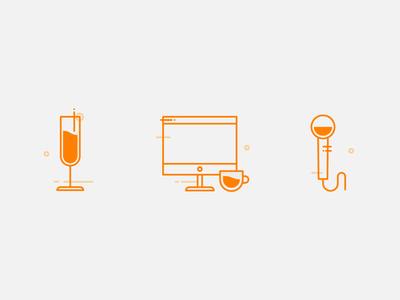 Icons office microphone party drink champagne tea cup cup of coffee tea coffee desktop computer branding web ux ui vector flat icons set icons icon