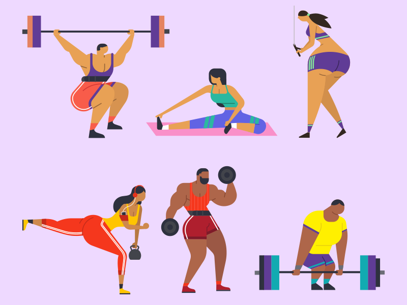 Shapes of workout SET stretching fitness sport bodybuilding trainer design training protein diet vector personal gym fit deadlift minimal illustration flat