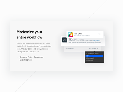 UXPin upcoming website (WiP) homepage slack integration slack uxpin website