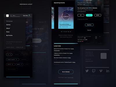 Esports - Behance Case interaction design bidding esports responsive layout dark ui