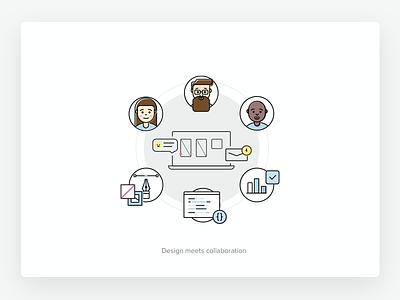 Design collaboration outline flat design illustrations uxpin tshirt illustrations