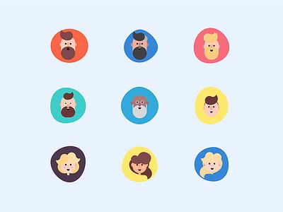 Set of Avatars collaboration humanized ui illustrated avatars golden ratio geometric patterns roles cartoon inclusive avatars avatars