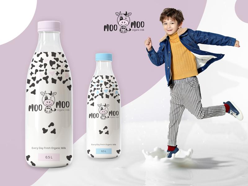 Organic milk label design by Zeljka Mitrovic on Dribbble